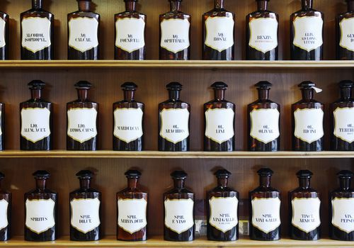 A range of natural spirits, acids, and oils in homeopathic pharmacy