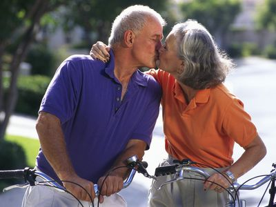 Middle Aged Couple Kissing