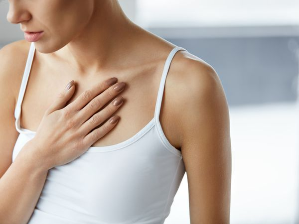 Closeup Female Body, Woman Having Pain In Chest, Health Issues