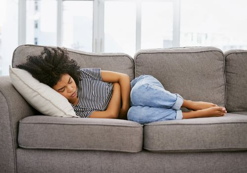 These cramps are a killer - stock photo - ibs