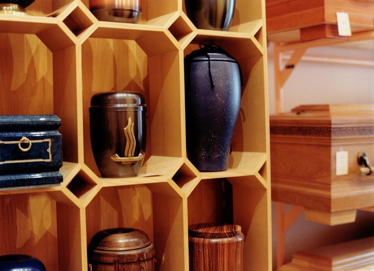 Urns on a shelf