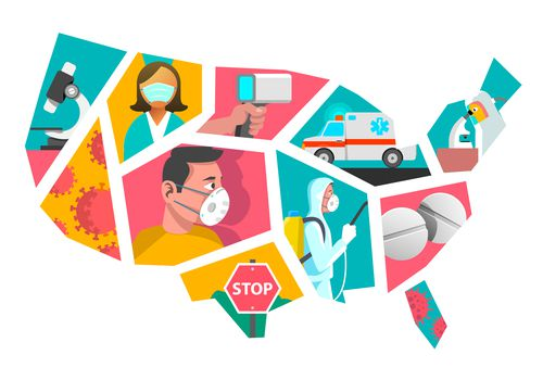 illustration of the United States broken up with images of health care