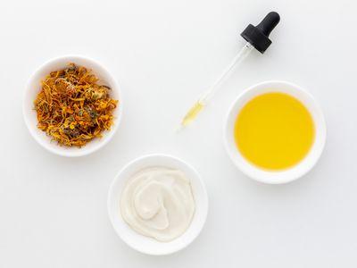 Calendula oil, cream, and dried petal tea