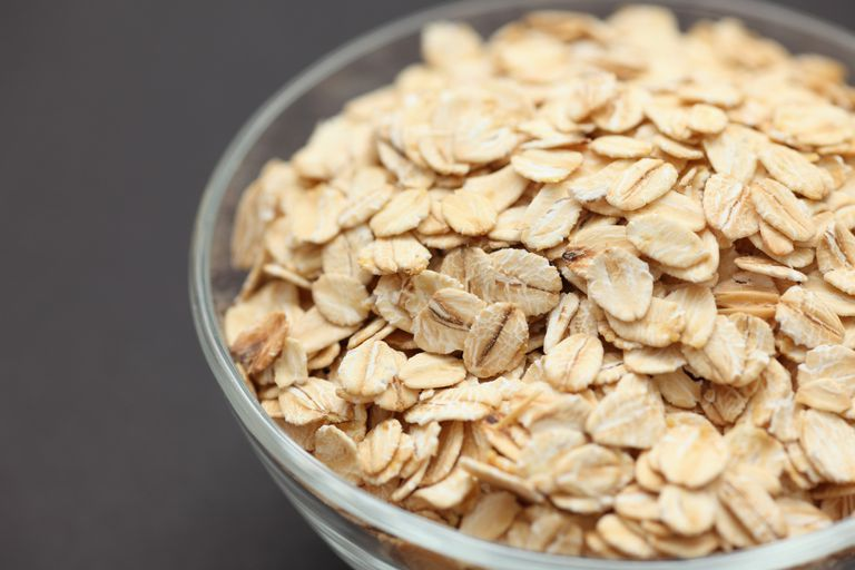 Rolled oats in a glass bowl