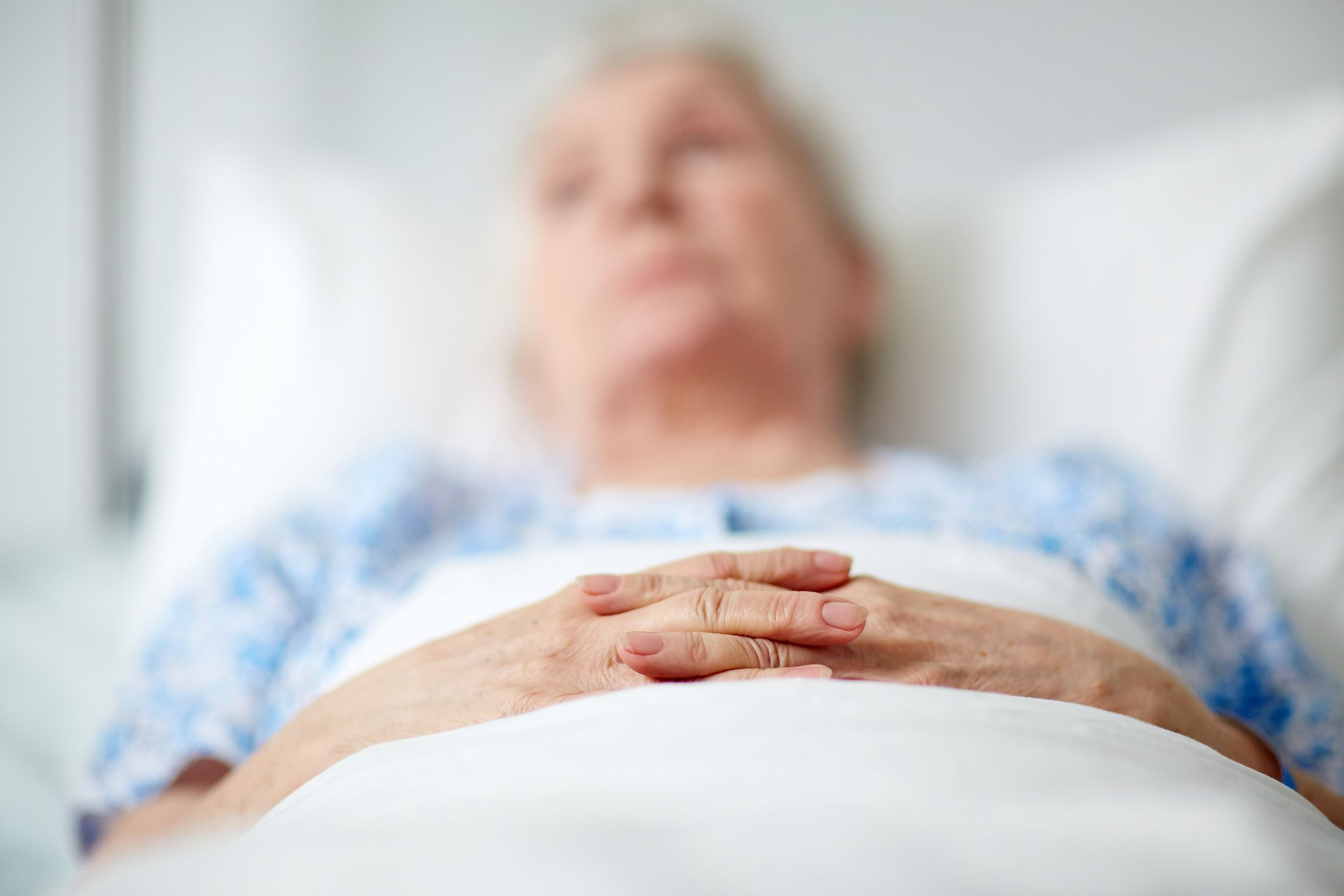 A person in a hospital bed