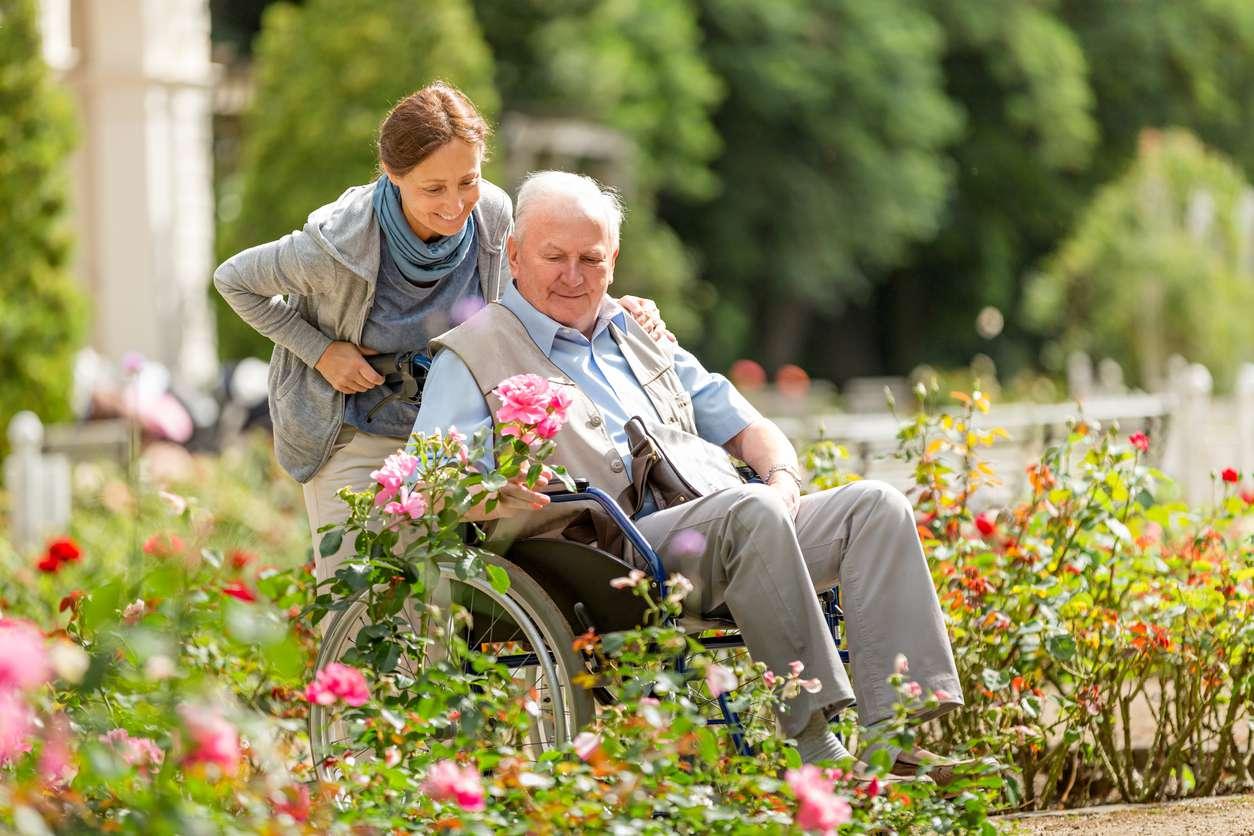 Elderly man at assisted living center