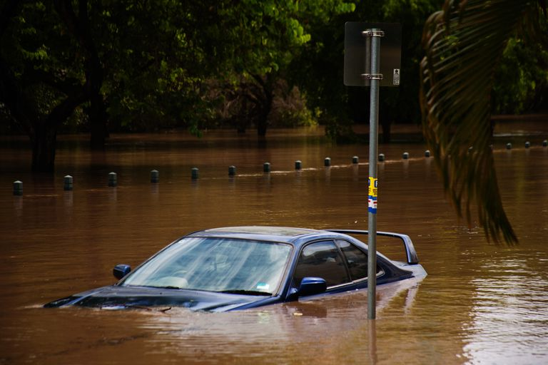 A car submerged in a flash flood