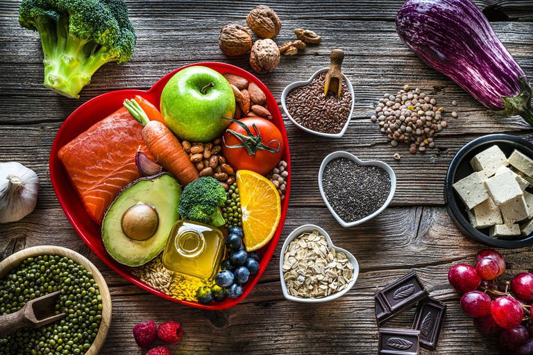 Healthy Foods in Heart Containers