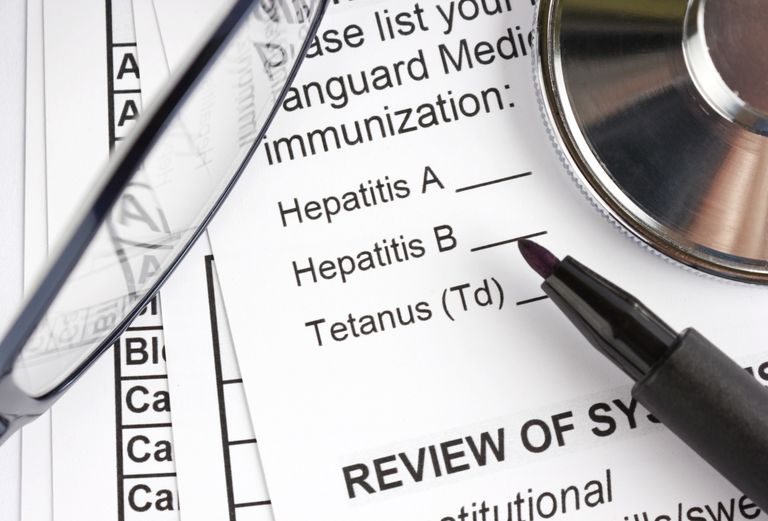 Paperwork with Hepatitis A and B listed