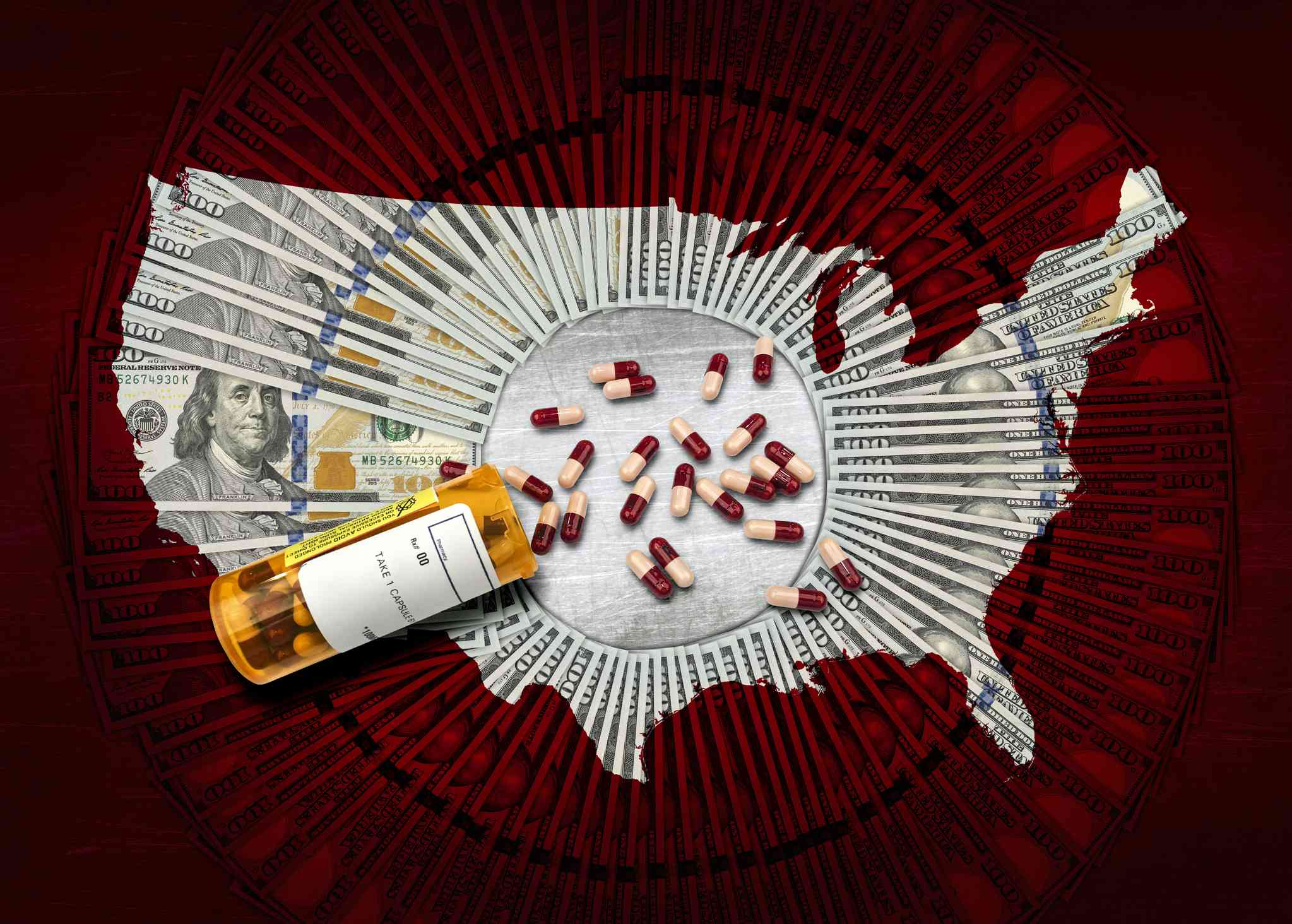 Map of the US made of $100 bills with a pill bottle in the middle.