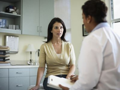 Woman at primary care physician