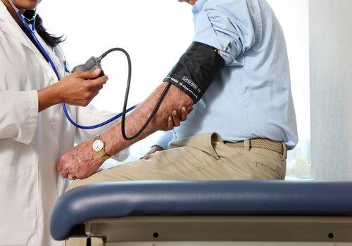 Person getting blood pressure taken