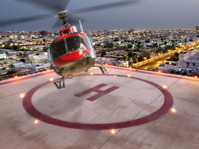 helicopter taking off from hospital