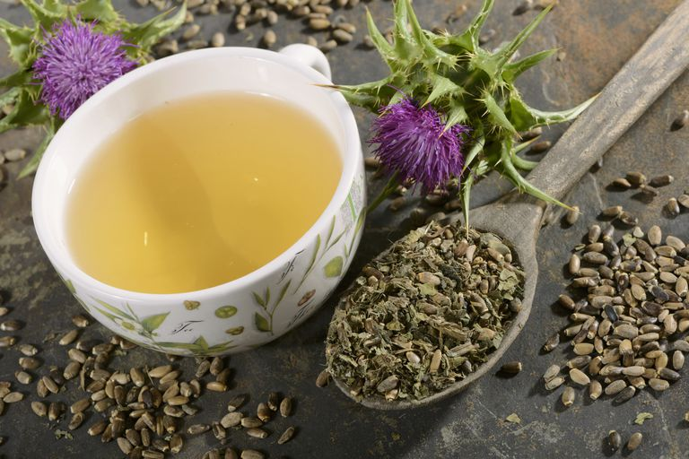 Milk thistle (tea, tea leaves, a flower and seeds)