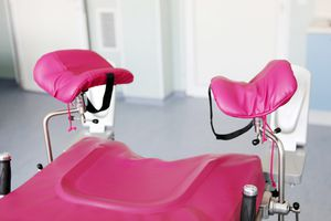 Stirrups on a gynecological examination table