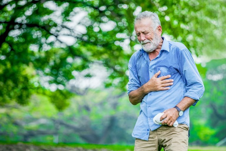 An older man alone in the park having chest pain