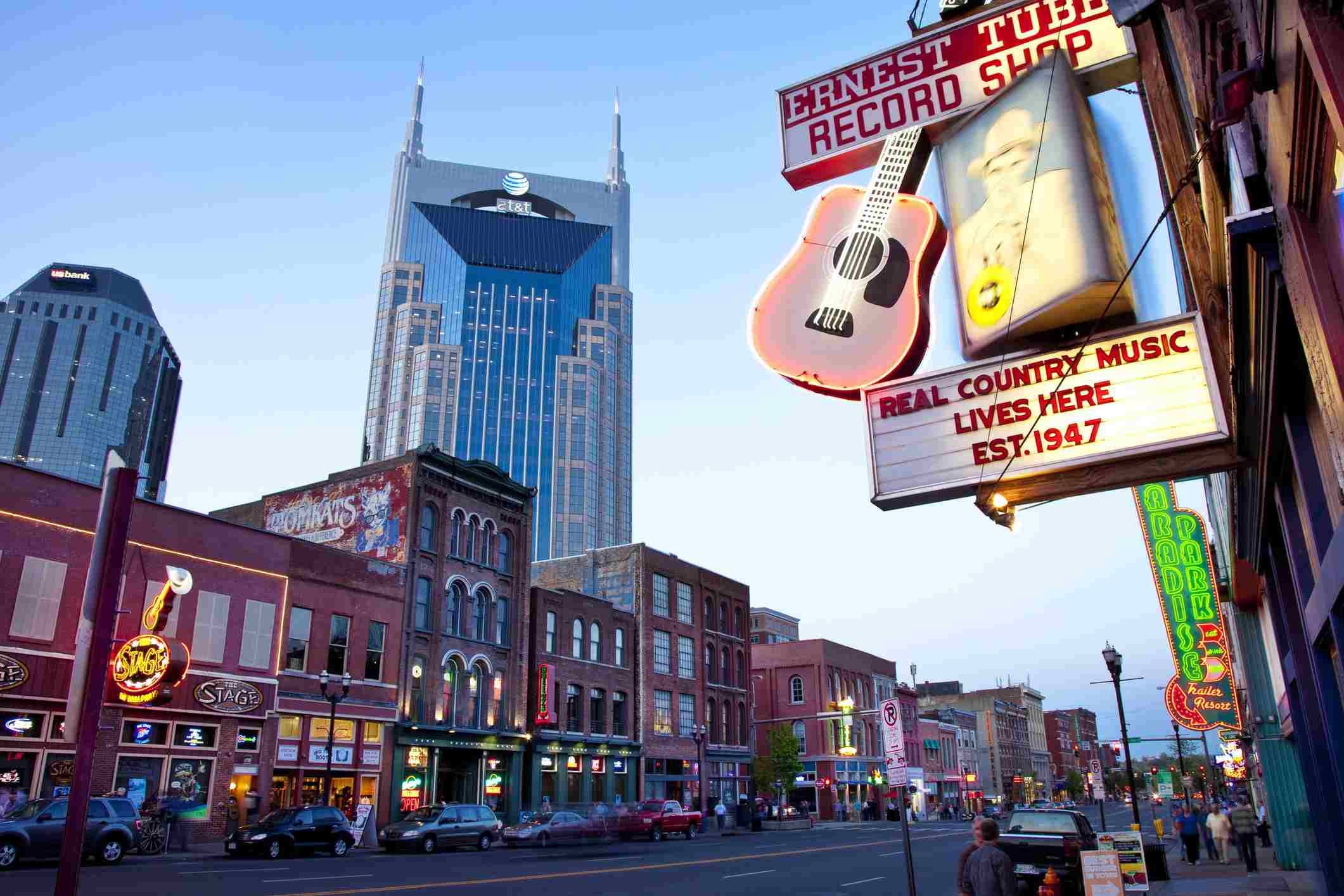 AT&T Building towers over historic buildings of lower Broadway in Nashville