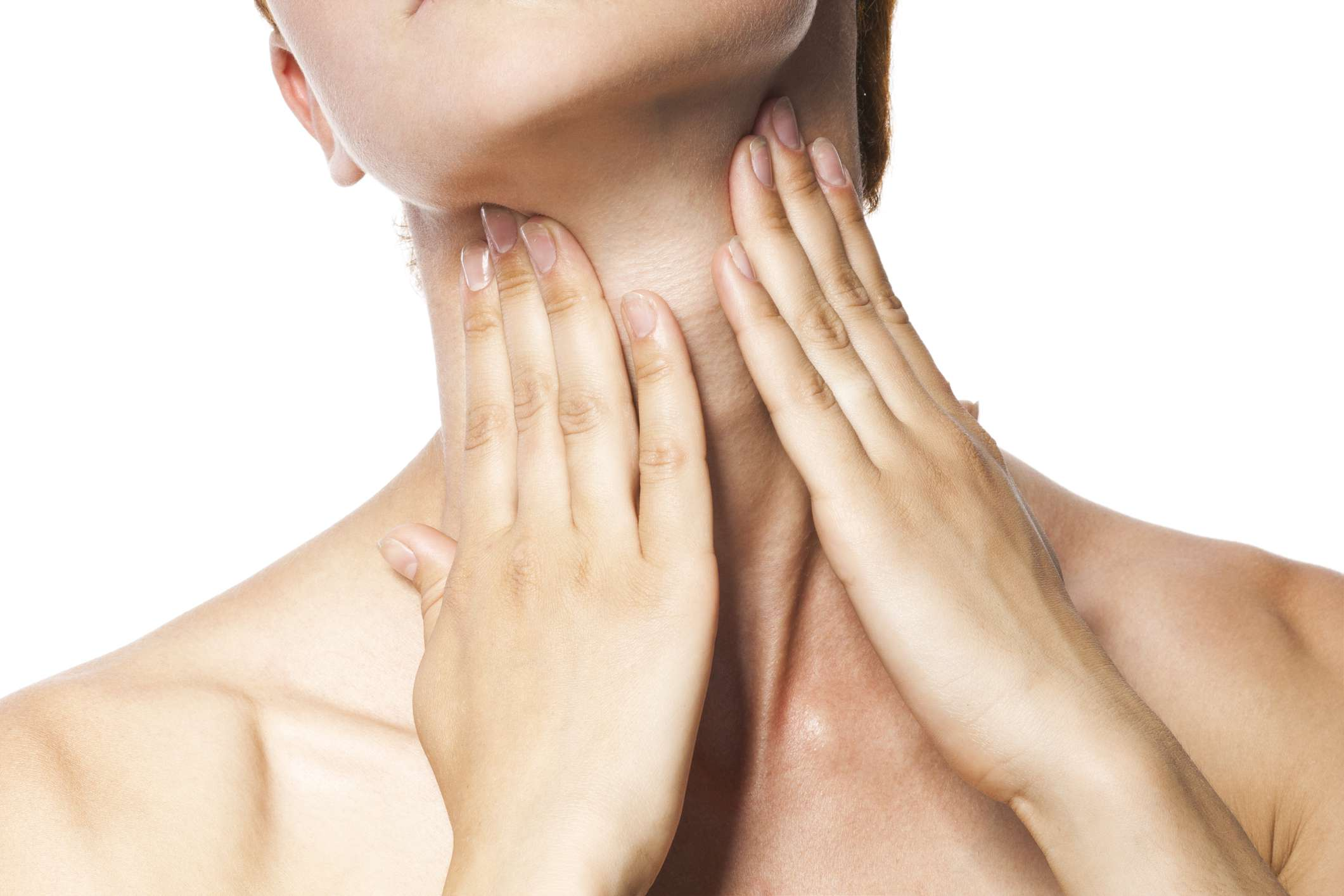 Woman with both hands on her throat