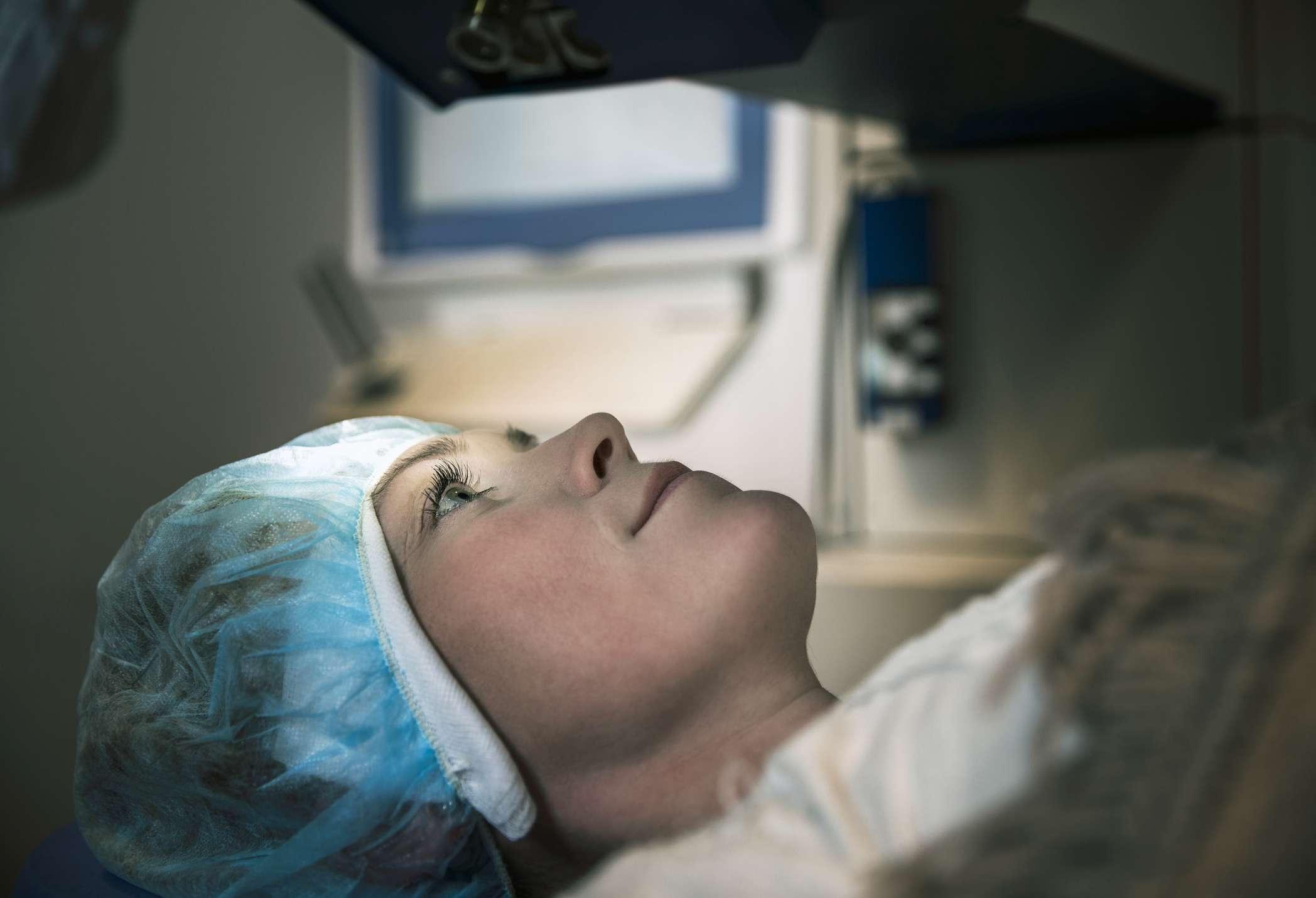 Patient undergoing laser eye surgery