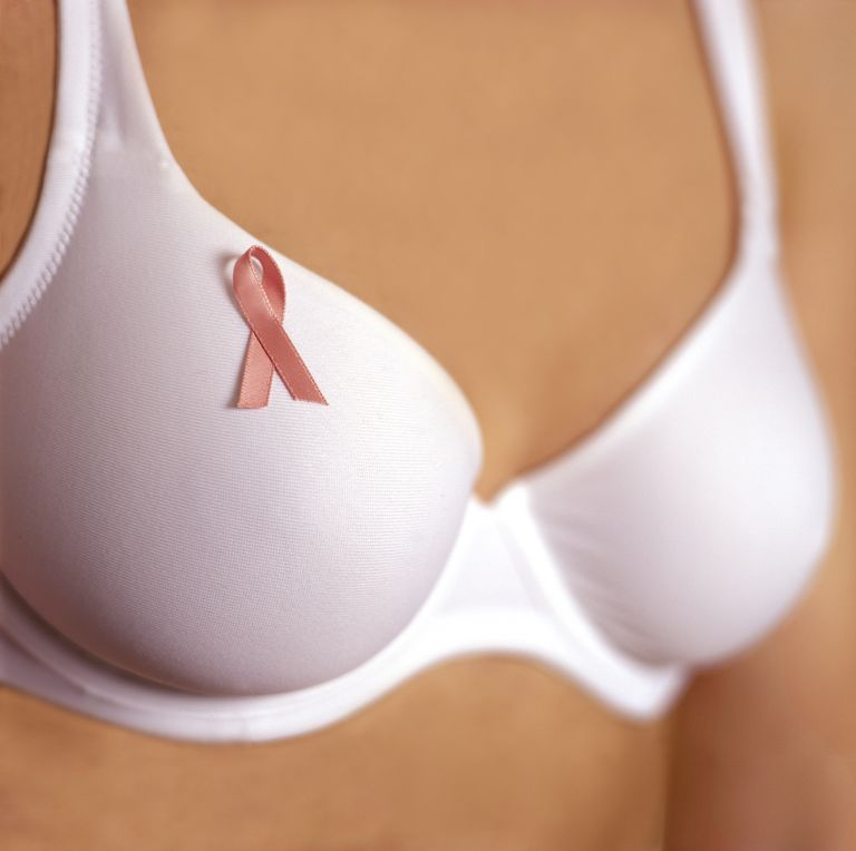 woman in bra with breast cancer ribbon