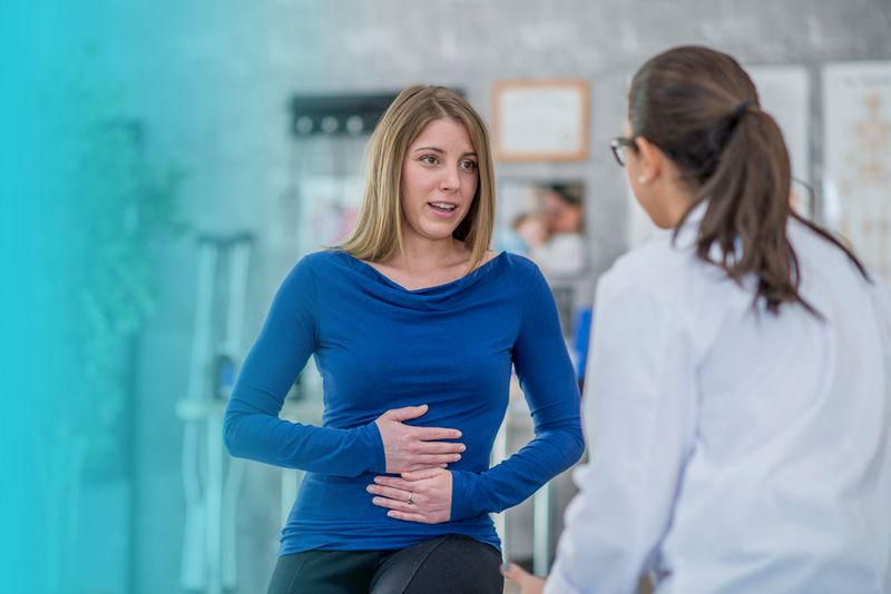 Woman talking to doctor about ulcerative colitis