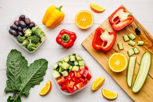 Various chopped fruit and vegetables