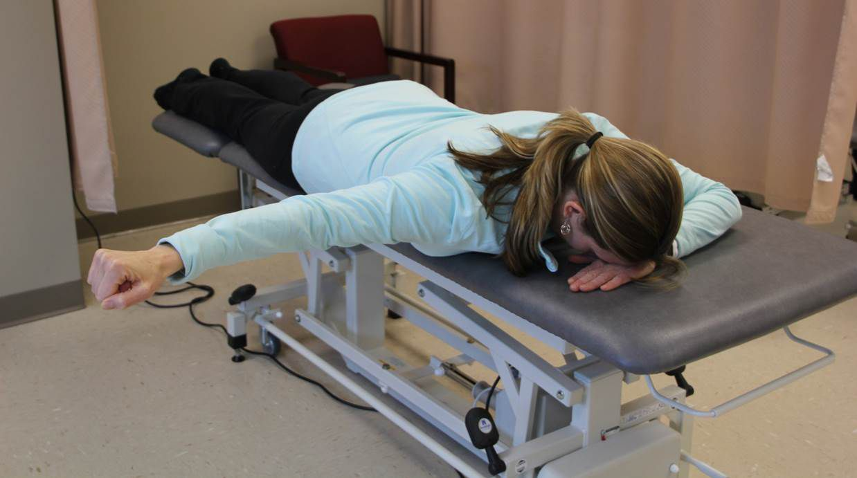 """The prone """"T"""" exercise can help you gain control of your shoulder after injury."""