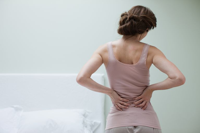 Woman holding her lower back because of pain