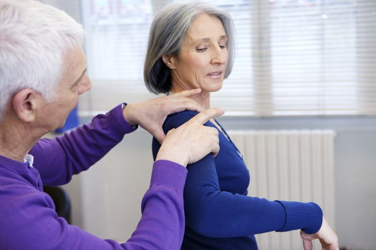 Woman having shoulder pain consultation with doctor