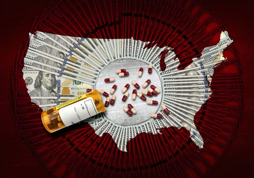 United states map with prescription pills and dollars