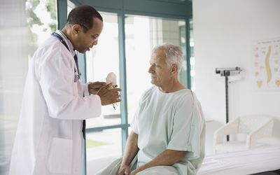 Doctor explaining anatomical model to patient in hospital