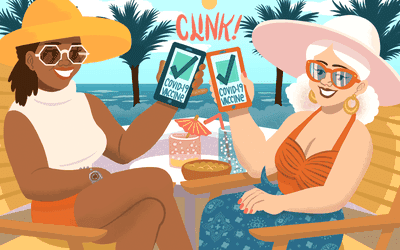 illustration of women on the beach with mobile vaccine passports