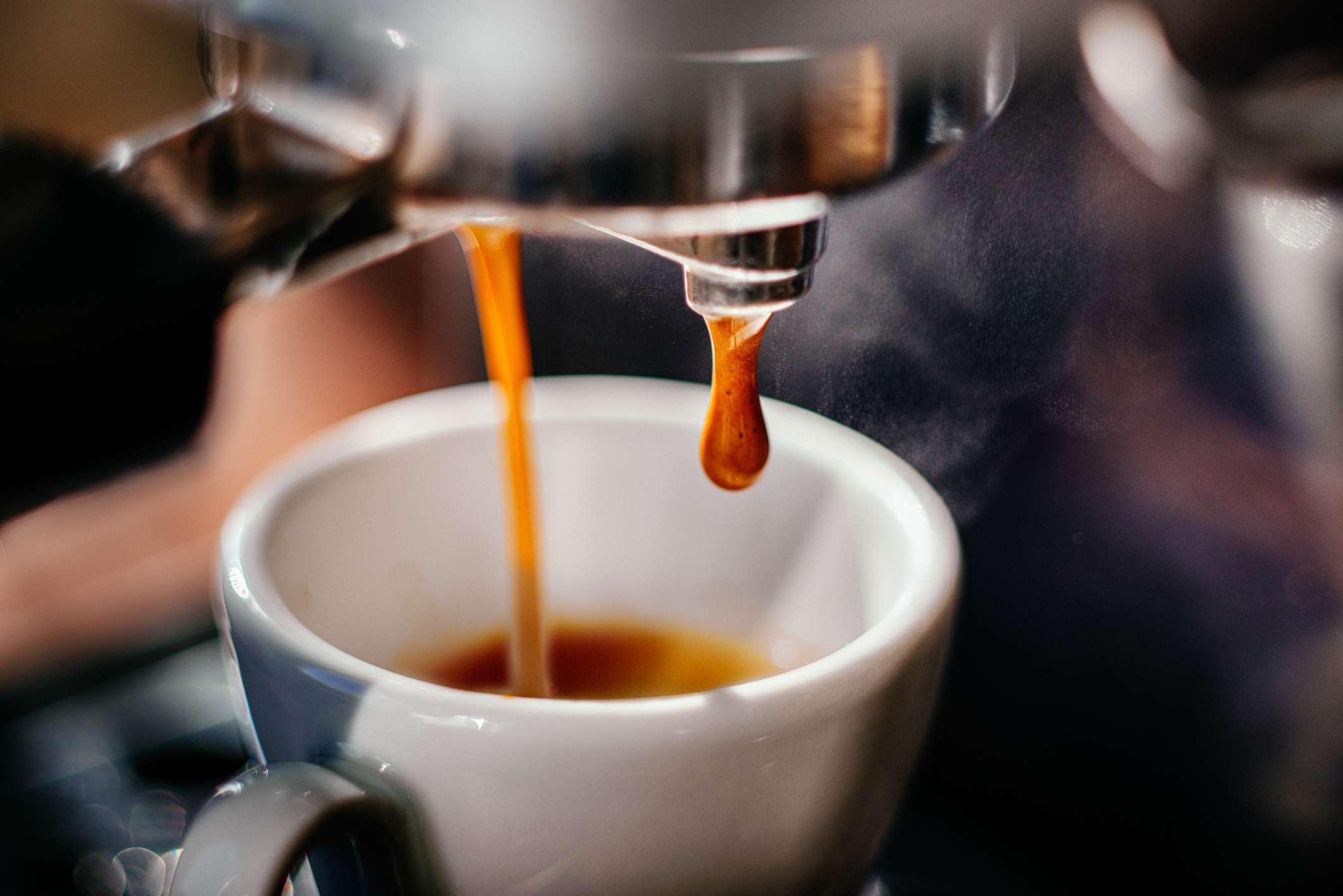 Close up of cappuccino machine