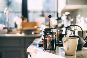 Coffee Pot and Mug on Kitchen Counter