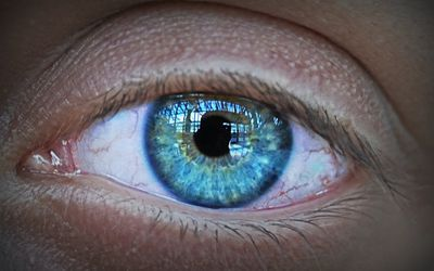Close-up on human blue eye