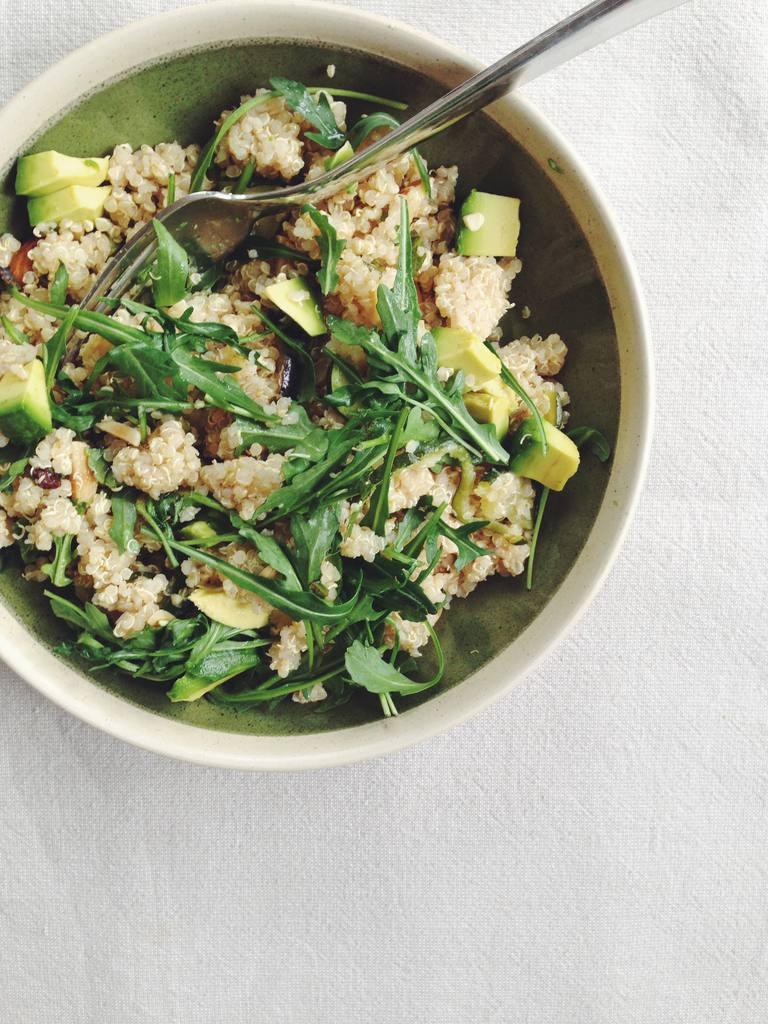 Moroccan spiced quinoa salad with avocado
