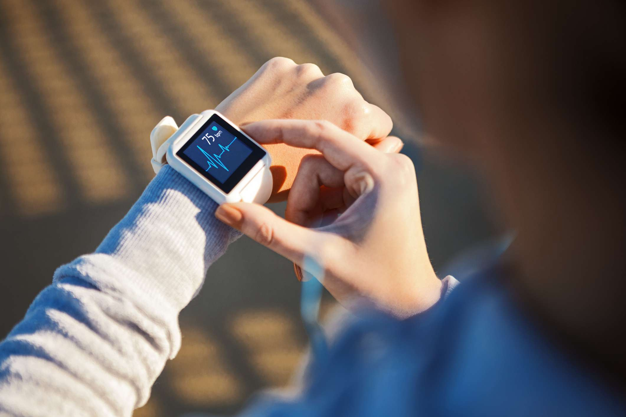 Checking heart rate on a smart watch