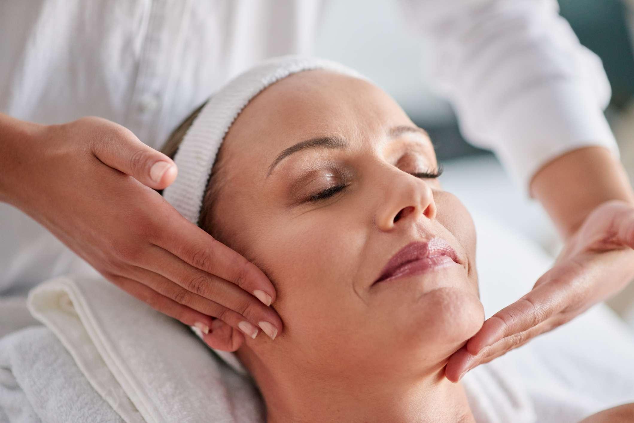 woman receiving skin treatment