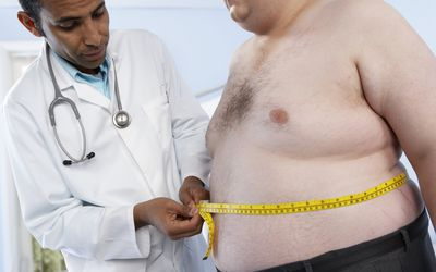 Obese patient at doctor's office
