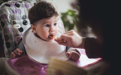 Person feeding a baby in a high chair
