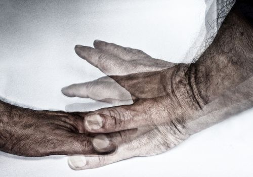 Conceptual photo of a hand tremor