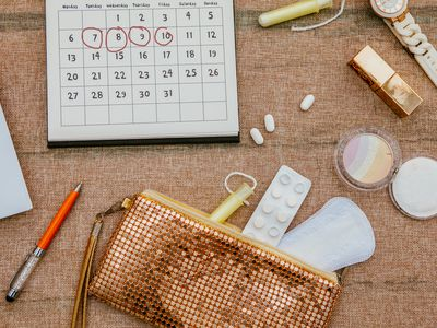 Tampon and Calendar and feminine products