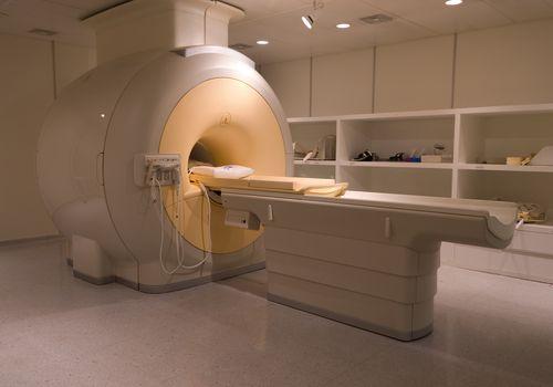 MRI machine in a dimly lit room