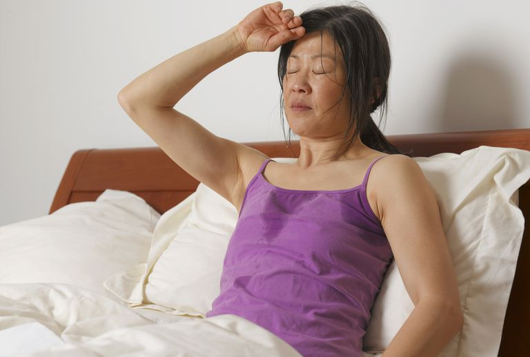 Woman having night sweats as duct ectasia is common at menopause