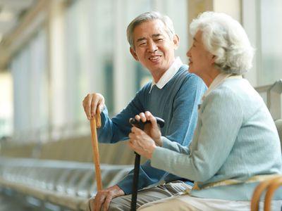 Senior woman sitting in hospital waiting room