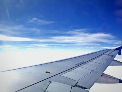 An airplane's right wing