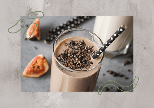chocolate smoothie with black polka dot paper straw