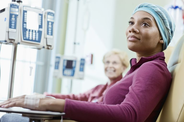 Woman getting cancer treatment