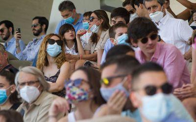 crowd in masks