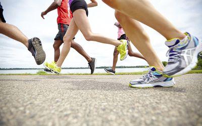 Feet of runners in a race